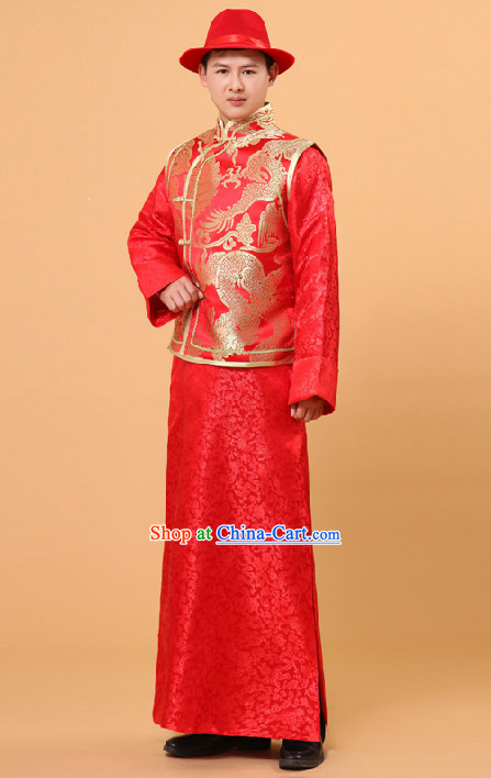 Traditional Chinese Wedding Ceremony Banquet Dresses and Hat for Bridegroom