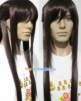 Ancient Chinese Style Black Long Hero Wig for Men