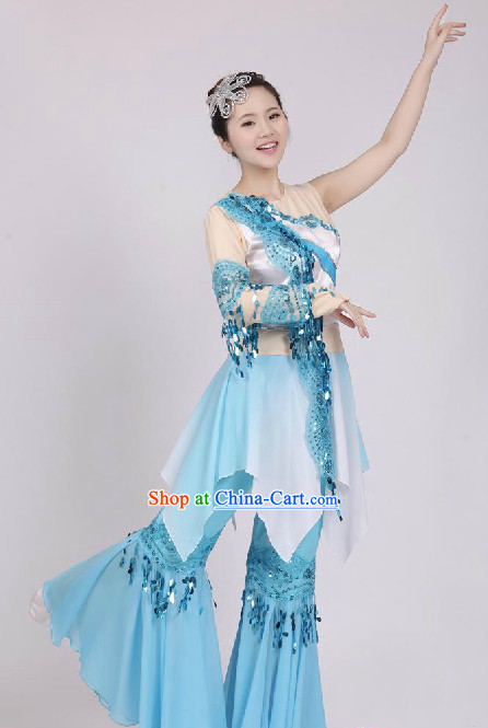 Chinese Fan Dancing Costume Complete Set