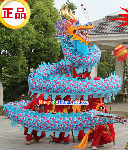Traditional Blue Dragon Dancing Costume Complete Set