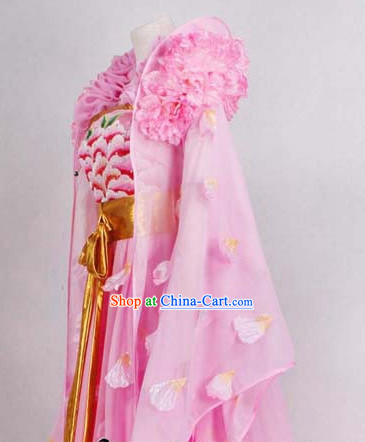 Ancient Chinese High Collar Pink Flower Empress Clothes Complete Set