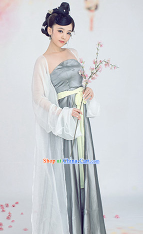 Summer Wear Tang Dynasty White and Silver Clothing for Women
