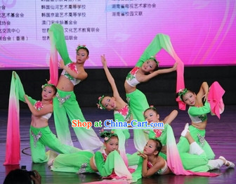 Traditional Chinese One Long Sleeve Dance Costumes and Headdress