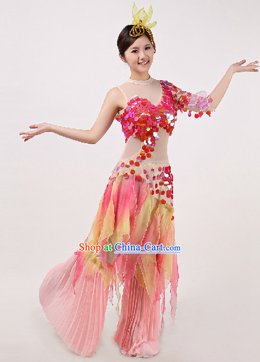 Mermaid Dance Costumes and Headwear Full Set for Women