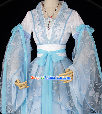 Ancient Chinese Blue Butterfly Fairy Outfit and Necklace Complete Set