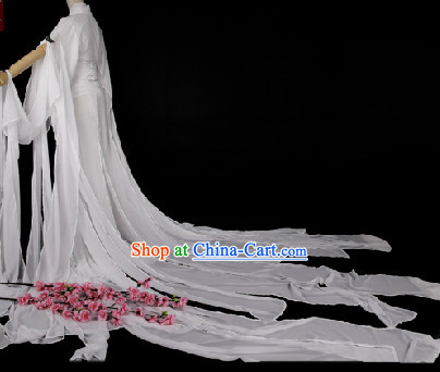 Traditional Chinese Pure White Hanfu Clothes with Long Tail