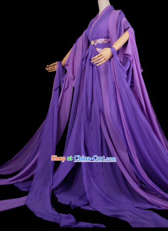 Traditional Chinese Pure Purple Hanfu Suit with Long Tail