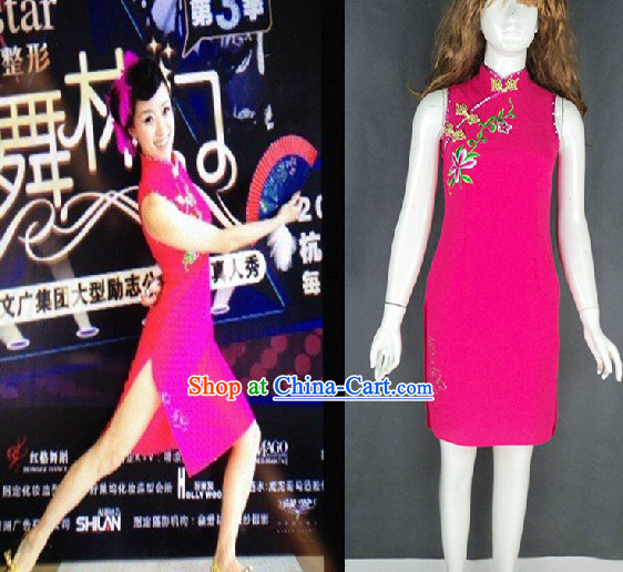 Traditional Chinese Short Cheongsam Classical Dancing Costumes