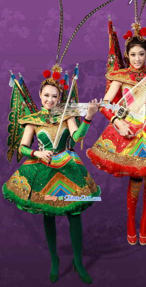 Green Crystal Music Ensemble Stage Performance Peking Opera Style Costumes