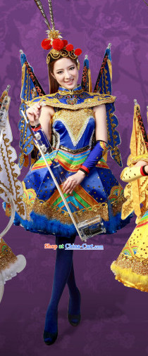 Blue Crystal Music Ensemble Stage Performance Beijing Opera Style Costumes
