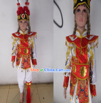 Professional Beijing Opera Stage Performance Dance Costumes and Long Feather Hat