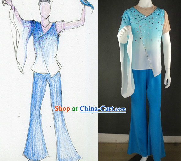 Traditional Chinese Fan Dancing Costumes for Men