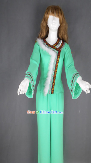 Traditional Green Christmas Dancing Costumes
