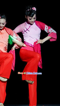 Pink Color Mandarin Handkerchief Dance Costumes and Handkerchief for Women