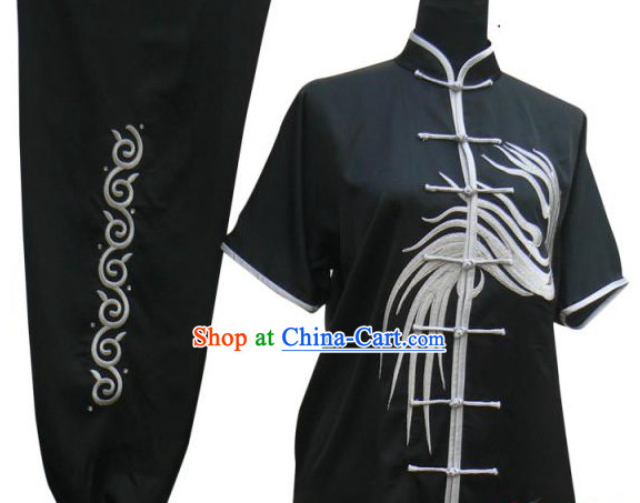 Top Short Sleeves Silk Martial Arts Tai Chi Morning Practice Clothes