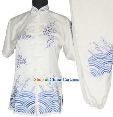 Top Silk Kung Fu Ocean Wave Embroidery Uniform