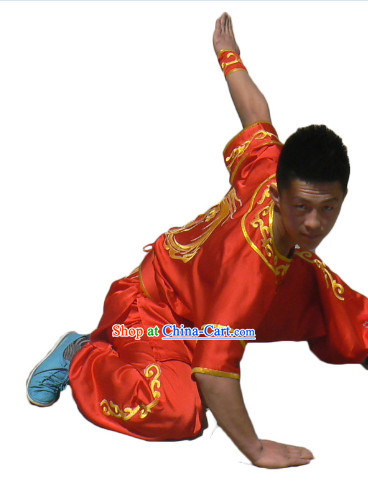 Top Silk Short Sleeves Dragon Embroidery Tai Chi Uniform for Men