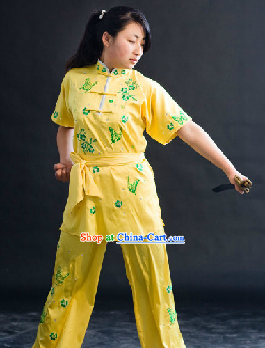 Top Silk Butterfly and Flower Kung Fu Uniform