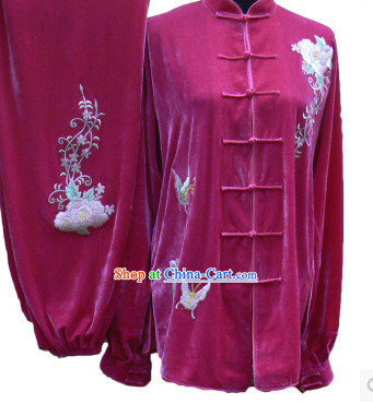 Professional Velvet Long Sleeves Flower Embroidery Contest Suit