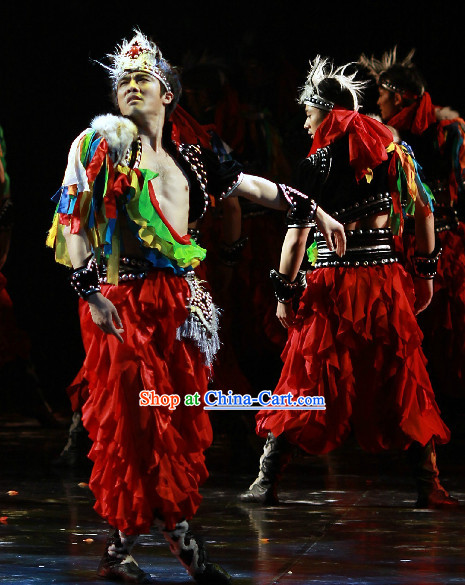 Professional Stage Performance Mongolian Dance Costumes and Hat for Men