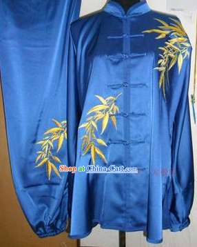 Beijing Sport University Blue Bamboo Embroidery Tai Chi Clothes