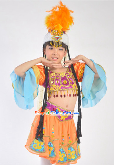 Traditional Chinese Xinjiang Dance Costumes for Kids