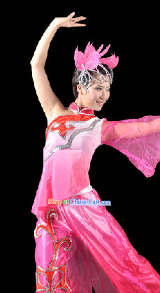 Traditional Chinese Lotus Dancing Costumes Complete Set