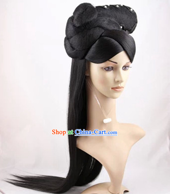 Chinese Traditional Black Long Wigs