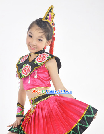 Chinese Yi Ethnic Clothes and Hat for Kids