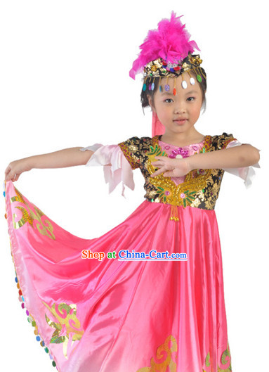 Chinese Xinjiang Dancer Costumes and Hat for Kids