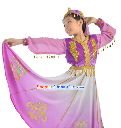Xinjiang Uygurs Dance Outfit and Hat for Children