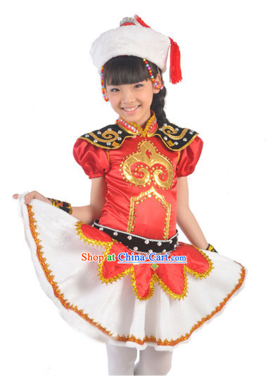 Mongolian Traditional Costumes and Hat for Kids