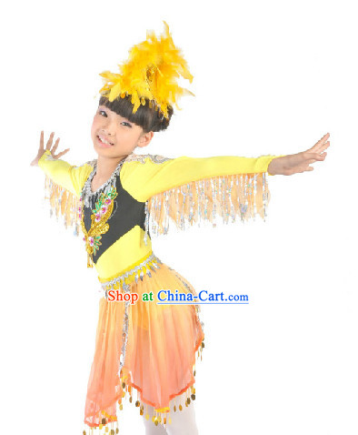 Chinese Folk Dancing Dress and Headdress for Kids