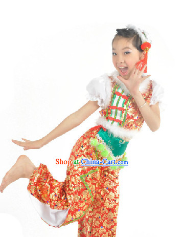 China Children Fan Dance Costume and Headdress