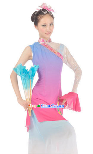 Chinese Fan Group Dance Skirt and Headdress for Girls
