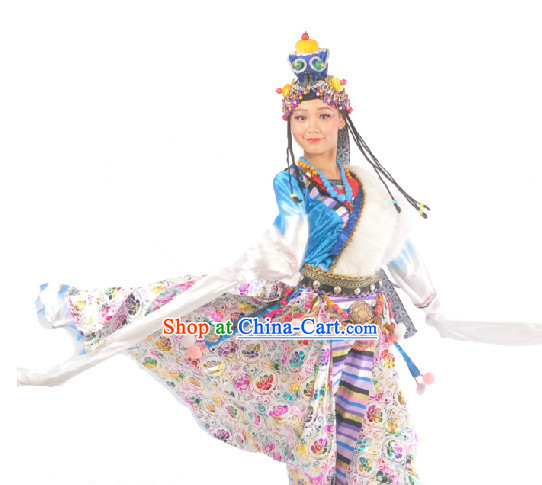 Chinese Tibetan Clothes and Headdress for Girls