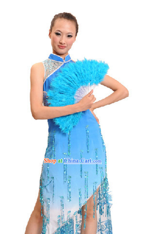 Professional Stage Performance Cheongsam Qipao and Fan