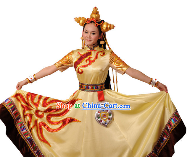 Chinese Tibetan Sun Drum Skirt and Headdress for Girls