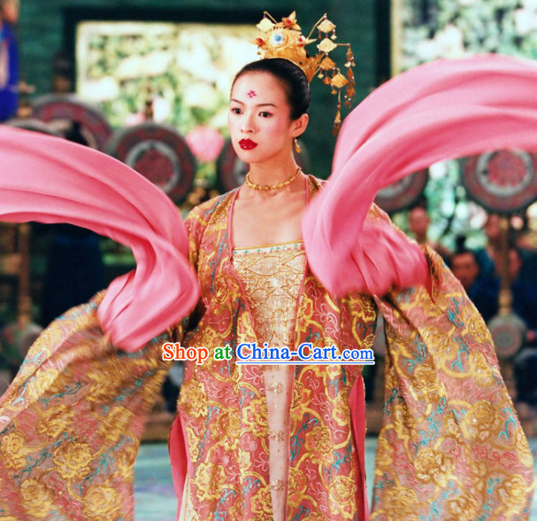 Wide Sleeves Palace Dance Costumes and Headdress Complete Set for Women