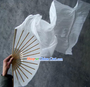 Pure White Chinese 100_ Silk Long Dance Fan