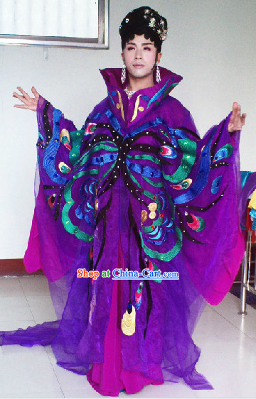 Li Yugang Opera Concert Stage Performance Butterfly Costumes, Wig and Hair Accessories