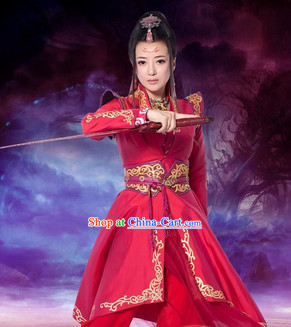 Gu Jian Qi Tan Lengend of the Ancient Sword TV Drama Red Swordwoman Costumes Complete Set
