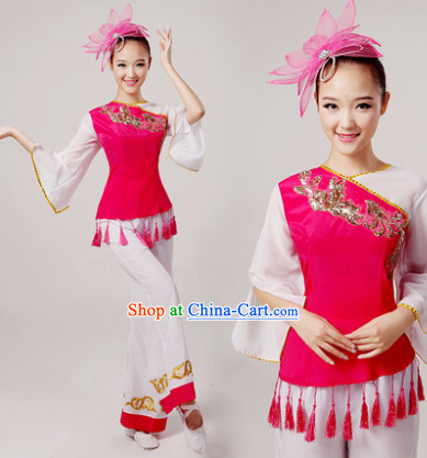 Chinese Drum Dance Costume and Hair Decorations