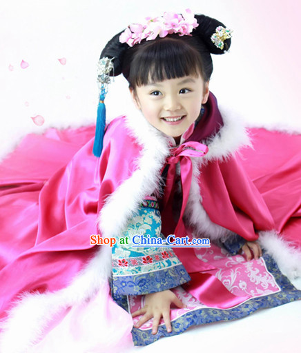 Chinese Qing Dynasty Princess Costume and Headdress for Children
