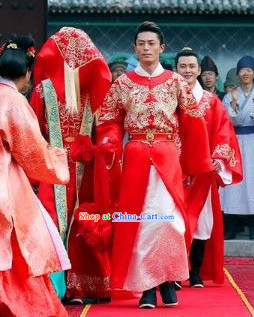 Traditional Chinese Red Wedding Dress for Bridegroom