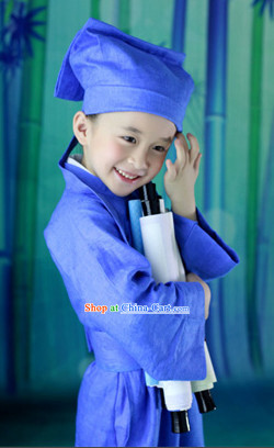 Ancient Chinese School Student Costume and Hat for Kids