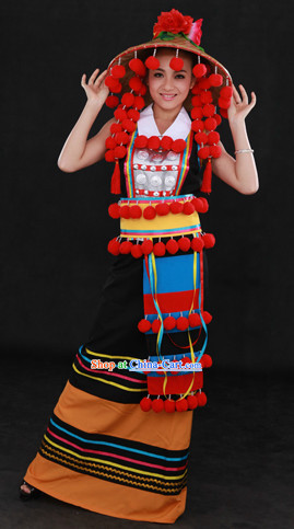 China Deang Nationality Clothing and Hat for Women