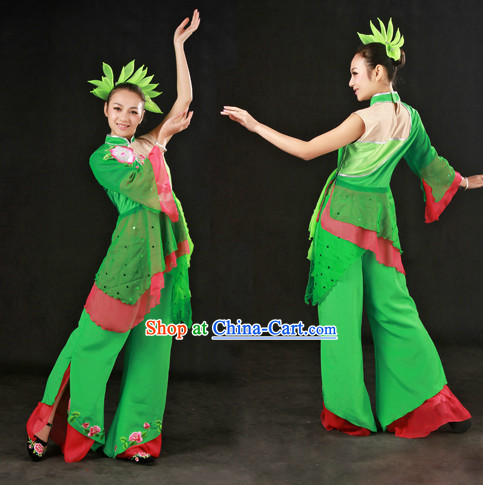 Chinese Han Ethnic Dance Costumes and Headdress for Women