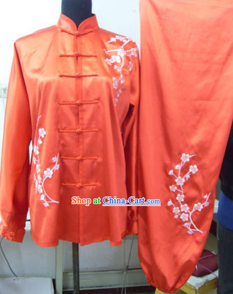 Traditional Red Plum Blossom Embroidery Chinese Kung Fu Suit
