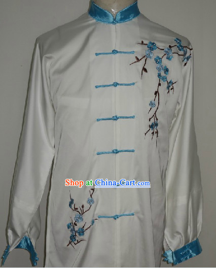 Traditional White Plum Blossom Embroidery Kung Fu Suit